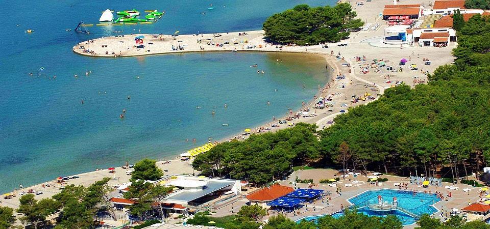 Zaton pláž, pohľad zhora, Chorvátsko