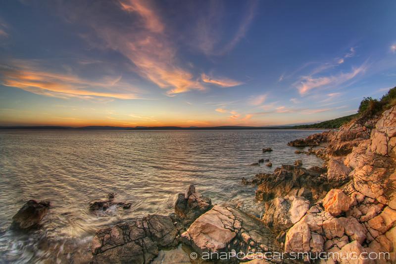Pláž Konobe - západ slnka