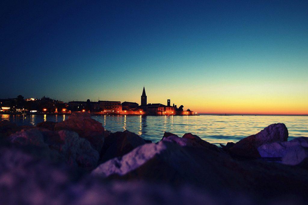 západ slnka v Poreči, Chorvátsko